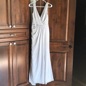 David's Bridal Dusty Blue Bridesmaid's Dress